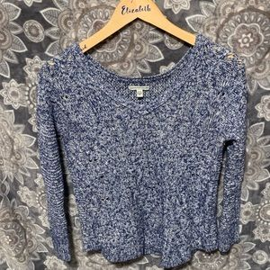 American Eagle Blue and White Crochet Sweater